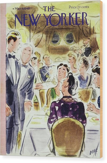 New Yorker Magazine Cover Of People Wood Print by Leonard Dove