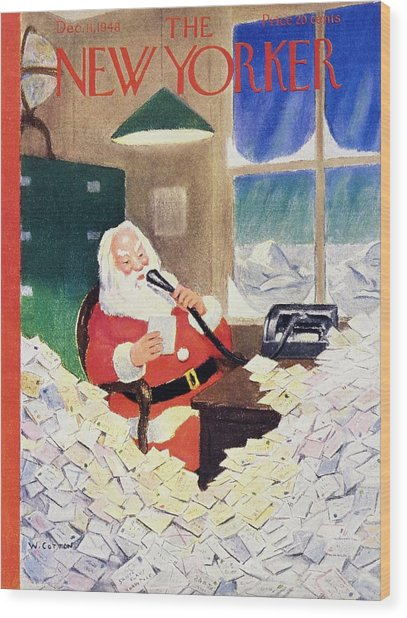 New Yorker Magazine Cover Of Santa Claus Wood Print