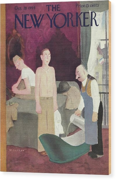 New Yorker Magazine Cover Of Soldiers In A Hotel Wood Print