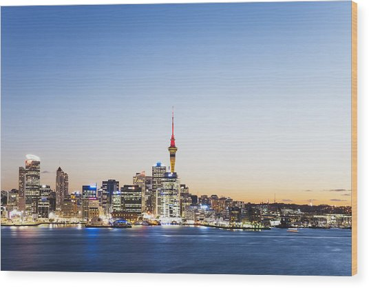 New Zealand, Auckland, Skyline With Sky Tower, Blue Hour Wood Print by Westend61