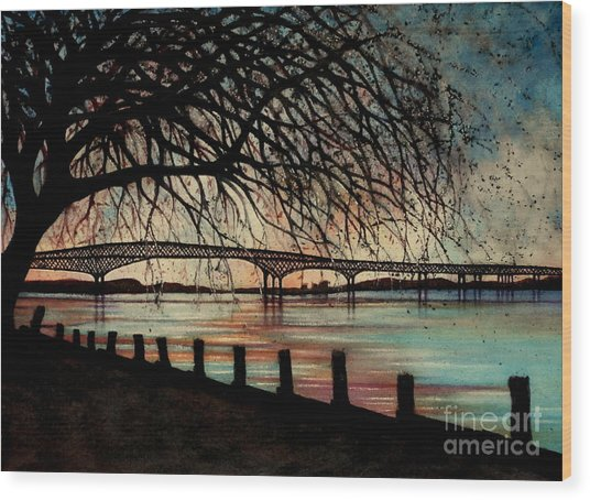 Newburgh Beacon Bridge Sunset Wood Print