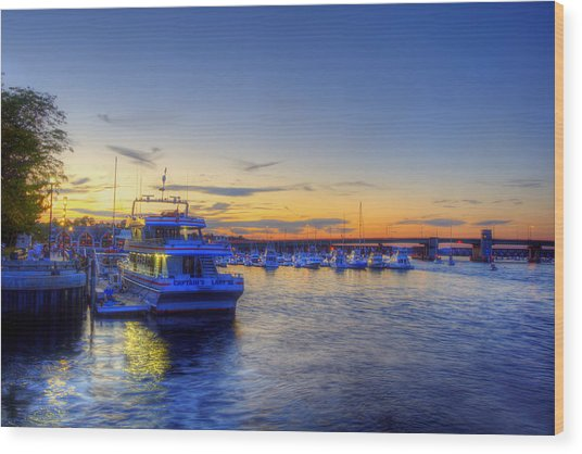 Newburyport Harbor Marina Wood Print