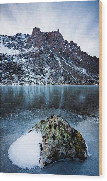 Frozen Mountain Lake Wood Print