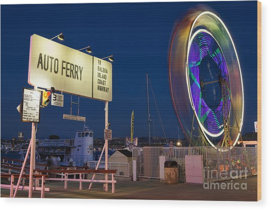 Newport Beach Auto Ferry Wood Print by Eddie Yerkish