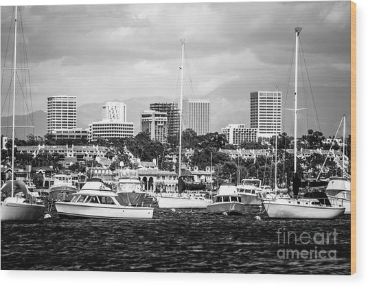 Newport Beach Skyline Black And White Picture Wood Print