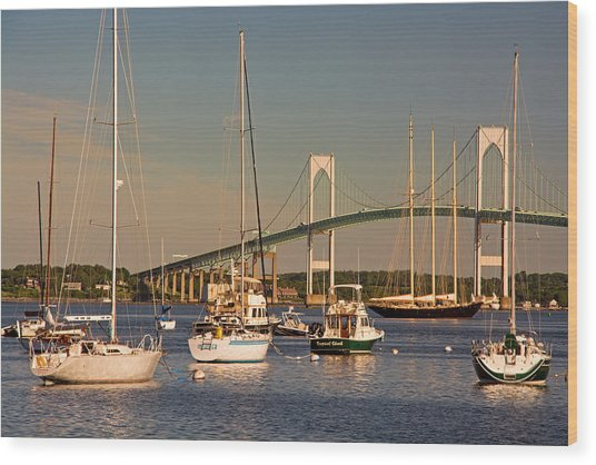 Newport Harbor With Pell Bridge Wood Print