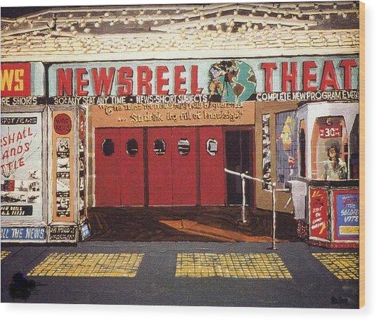 Newsreel Theatre Wood Print by Paul Guyer