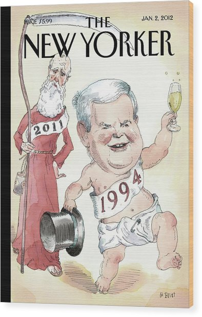 Newt Gingrich And Father Time Wood Print