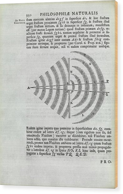 Newton On Wave Theory Wood Print by Royal Institution Of Great Britain