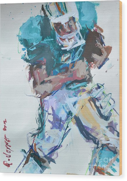 Nfl Football Painting Wood Print