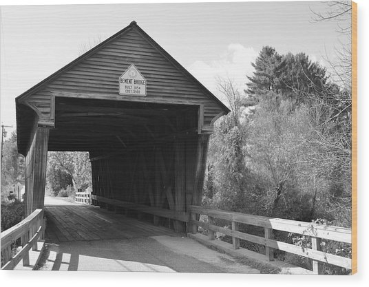 Nh Covered Bridge Wood Print
