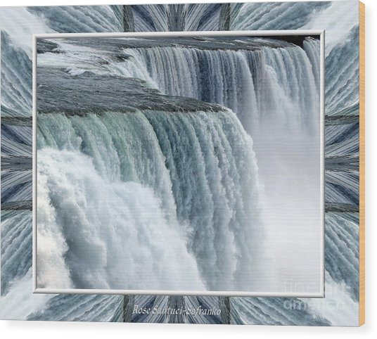 Wood Print featuring the photograph Niagara Falls American Side Closeup With Warp Frame by Rose Santuci-Sofranko