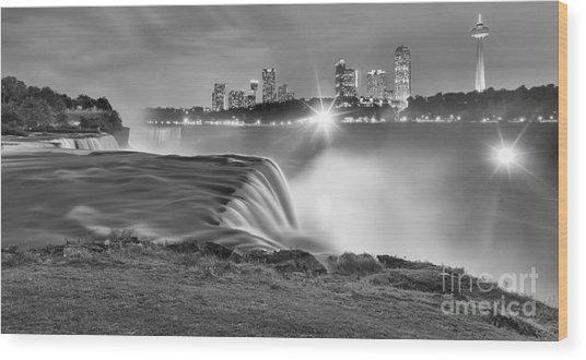 Niagara Falls Black And White Starbursts Wood Print