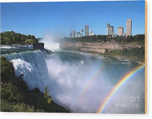 Niagara Falls Double Rainbow Wood Print