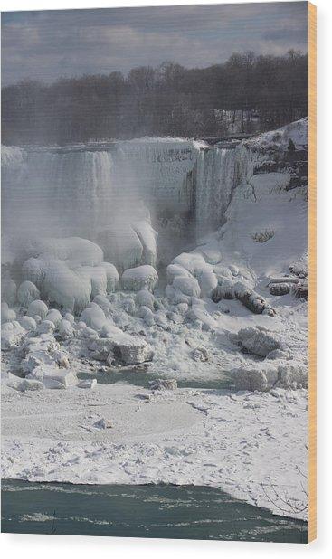 Niagara Falls Ice Buildup - American Falls New York State U S A Wood Print