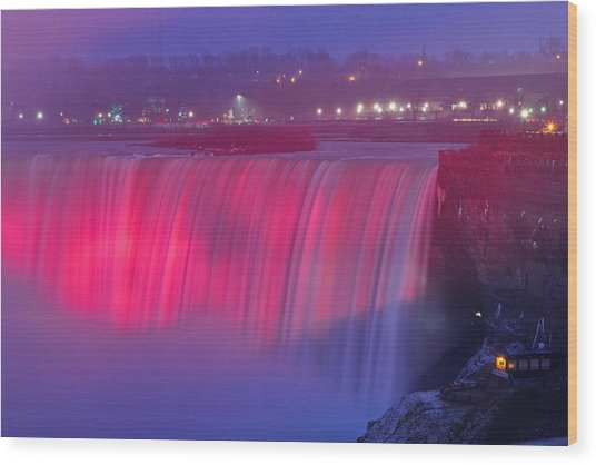 Niagara Falls Pretty In Pink Lights. Wood Print