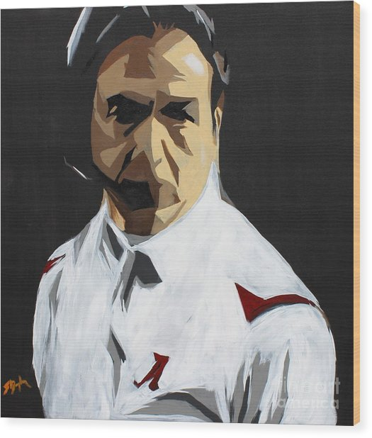 Nick Saban Wood Print