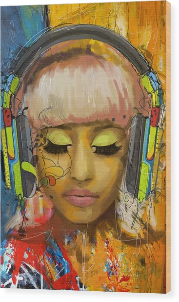Nicki Minaj Wood Print by Corporate Art Task Force
