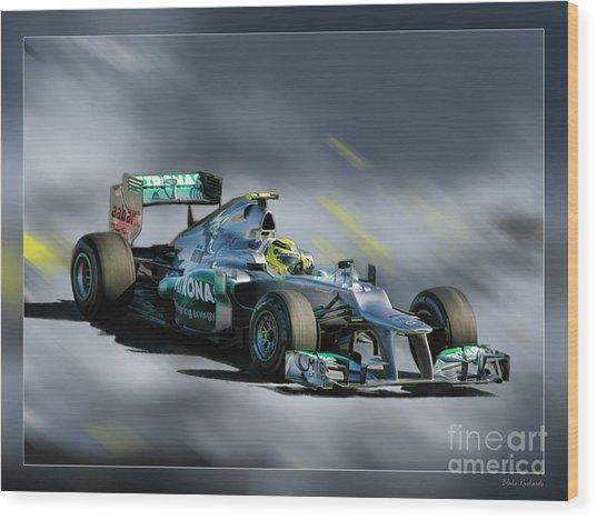 Nico Rosberg Mercedes Benz Wood Print