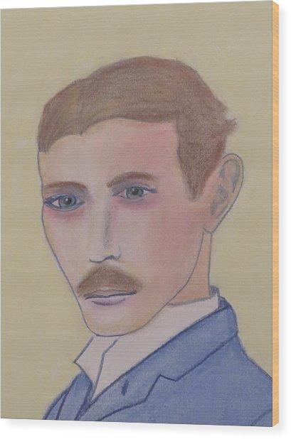 Nikola Tesla Mad Scientist Wood Print