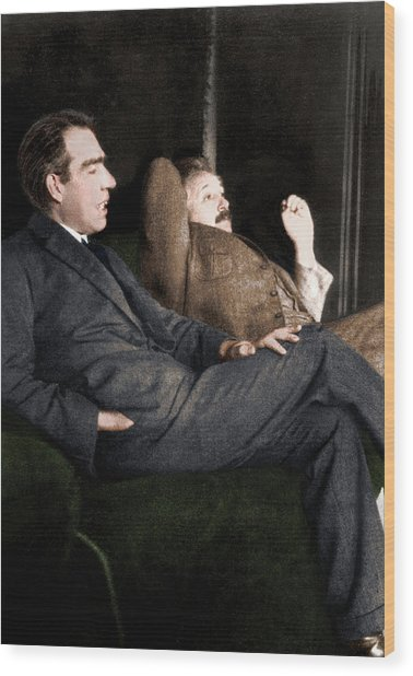 Niels Bohr And Albert Einstein Wood Print by Photograph By Paul Ehrenfest, Copyright Status Unknown. Coloured By Science Photo Library