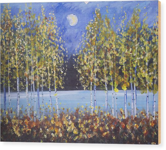 Night Aspens  Wood Print