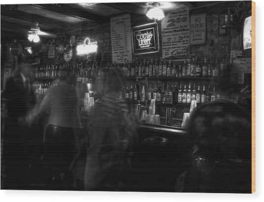 Night At A French Quarter Bar Wood Print
