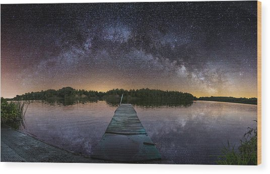 Night At The Lake  Wood Print