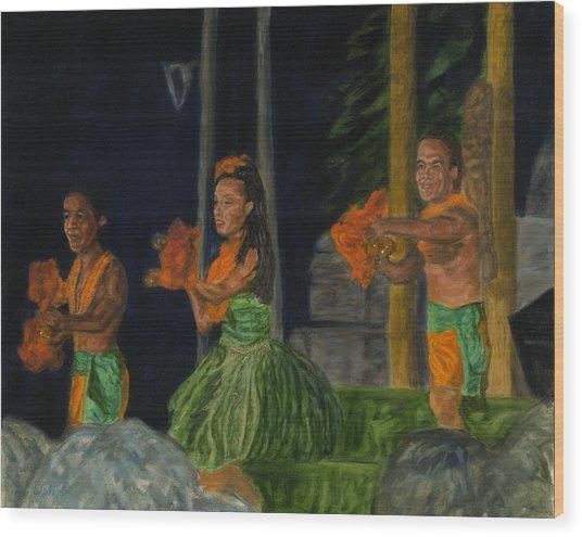 Night At The Luau Wood Print