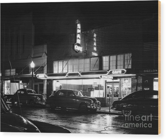 Night At The Spar Cafe At Night 1950 Wood Print