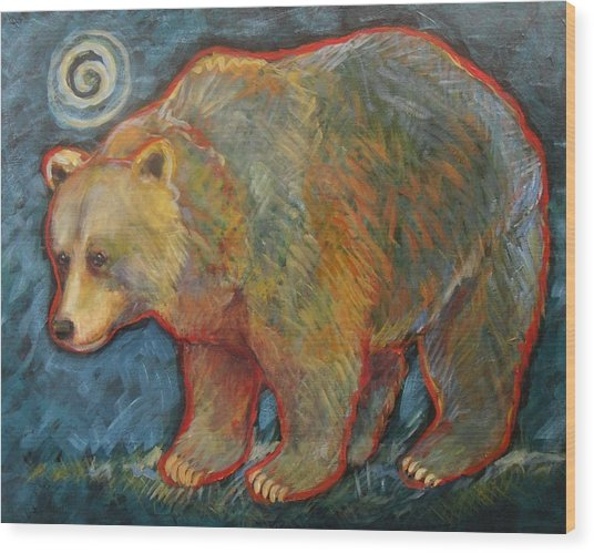 Night Bear Grizzly Bear Wood Print