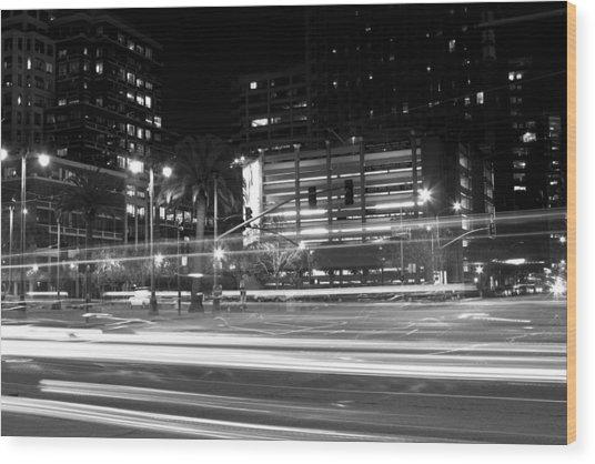 Night Blurs Wood Print