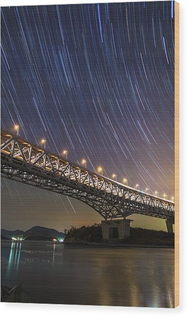 Night Bridge With Star Trails Wood Print