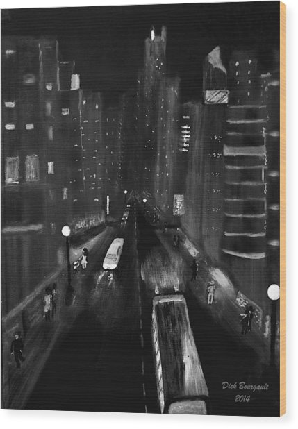Night City Scape Wood Print
