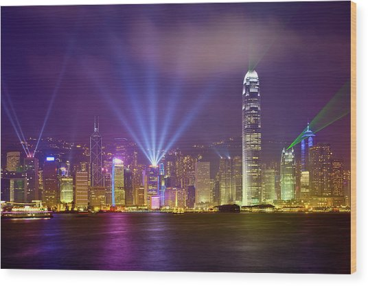 Night Cityscape Of Hongkong Wood Print