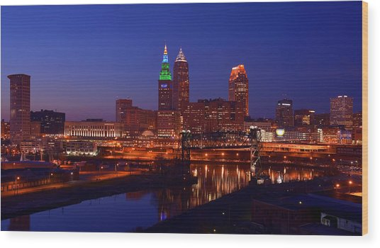 Night Cleveland Skyline From The South Wood Print