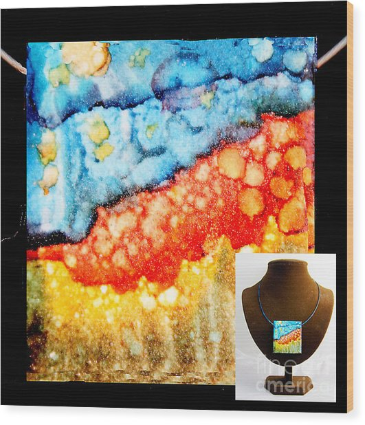 Night Cliffs Necklace Wood Print