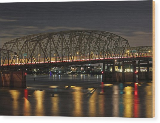 Night Crossing At I-5 Wood Print