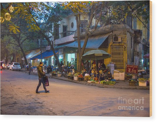 Night Crossing Hanoi Wood Print