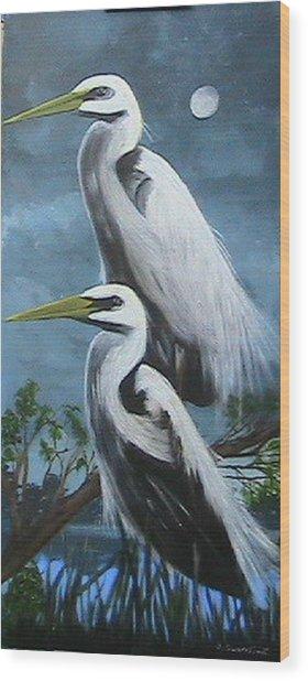 Night Egrets Wood Print