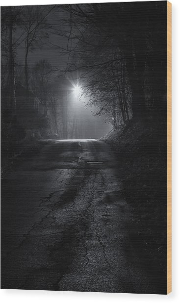 Night Fog Wood Print
