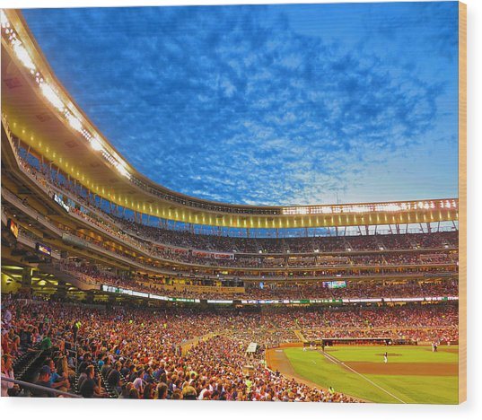 Night Game At Target Field Wood Print
