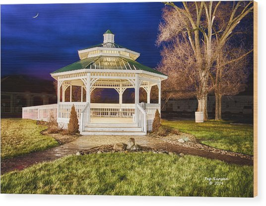 Night Gazebo Wood Print