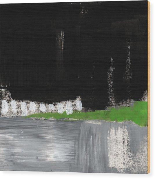 Night Horizon- Abstract Landscapeart Wood Print