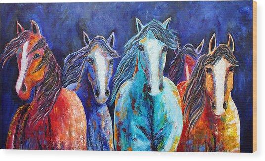 Night Horse Rendezvous Wood Print