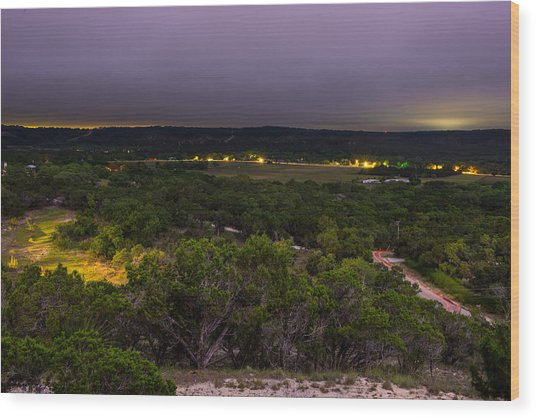 Night In A Texas Hill Country Valley Wood Print