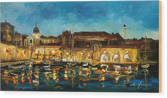 Night In Dubrovnik Harbour Wood Print