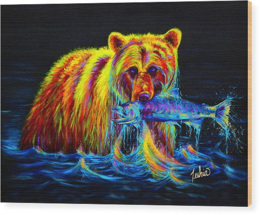 Night Of The Grizzly Wood Print