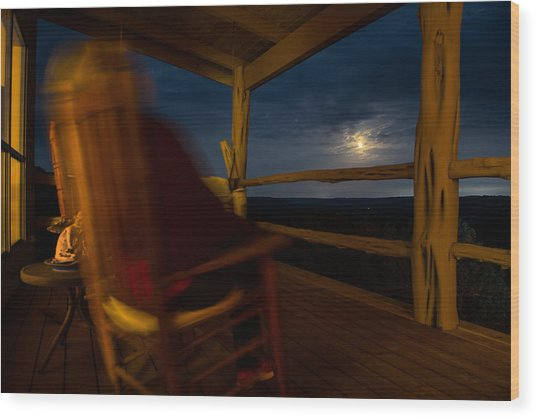 Night On The Porch Wood Print