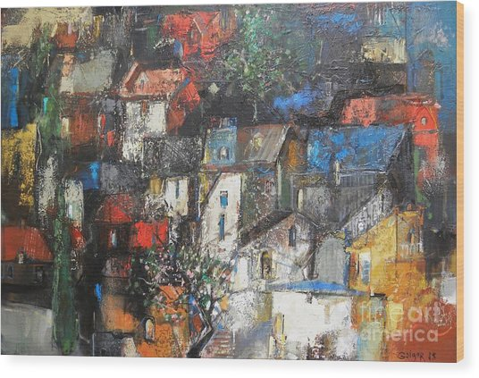 Night Over The Town Wood Print